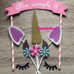 Cake topper unicornio personalizado