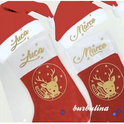 Bota navidad y gorro papa noel personalizado con nombre