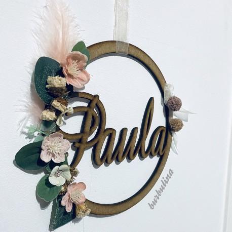 Colgante pared con nombre y flores