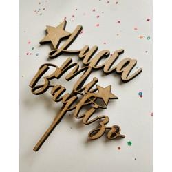 Topper tarta de madera o metacrilato para bautizo