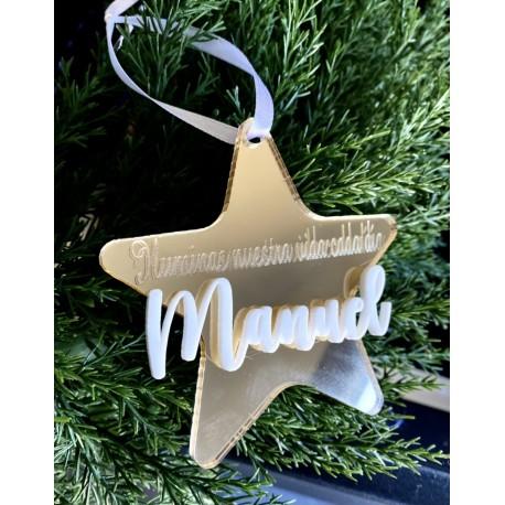 Estrella espejo navidad con nombre
