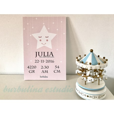 Lámina nacimiento estrella cartón pluma