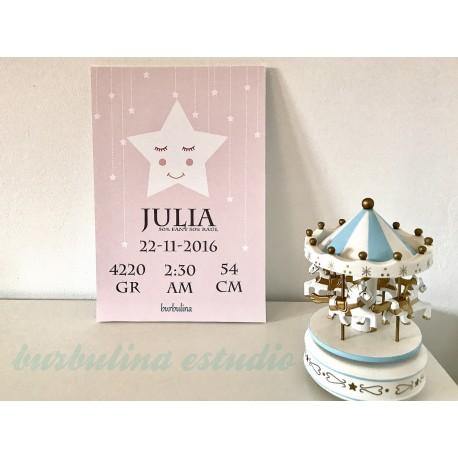 Lámina nacimiento estrella para enmarcar