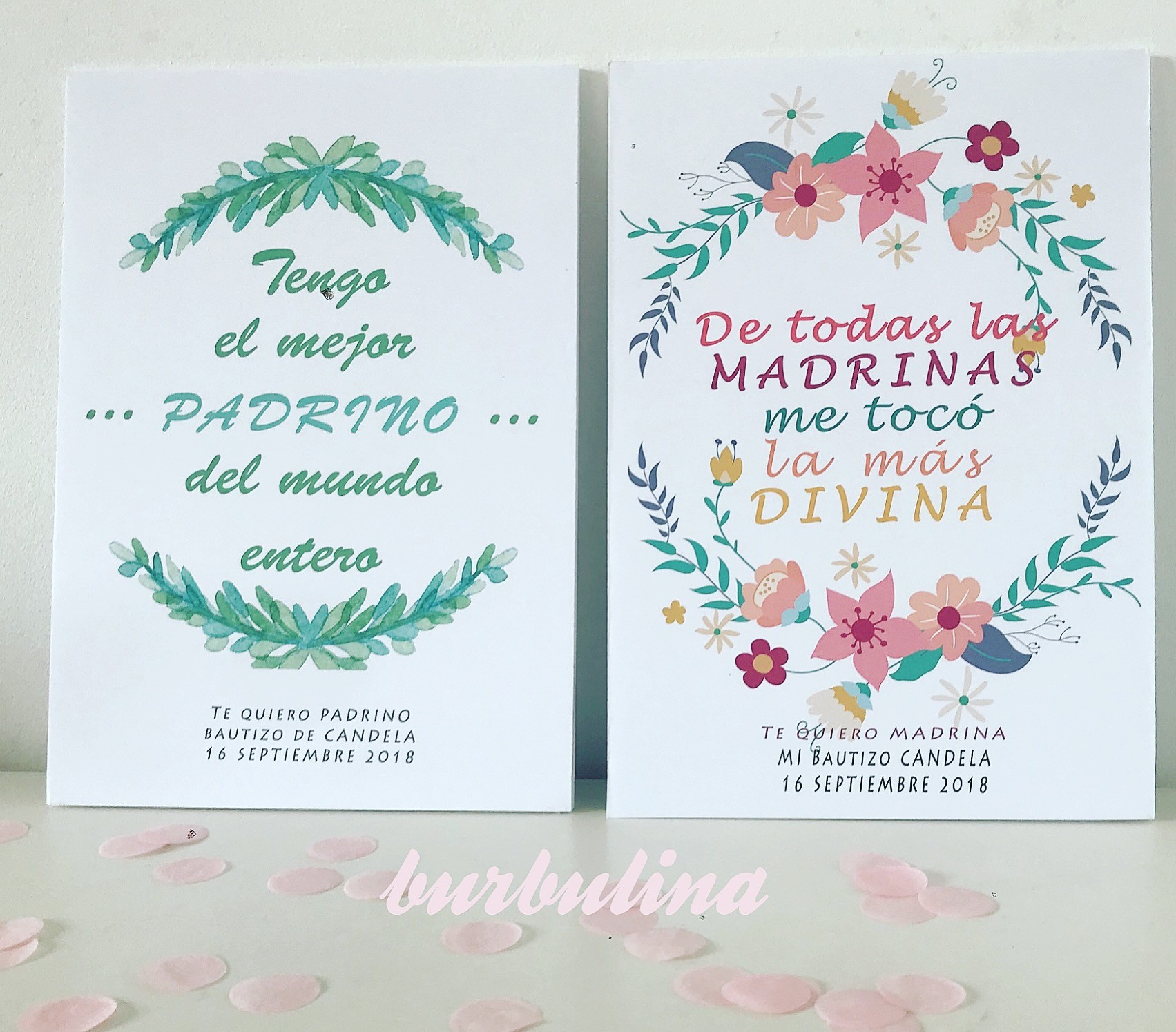 Lamina padrino y madrina en cartón pluma